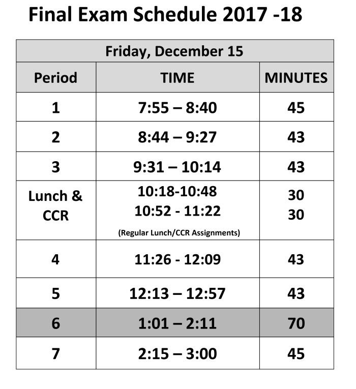 Friday's exam schedule