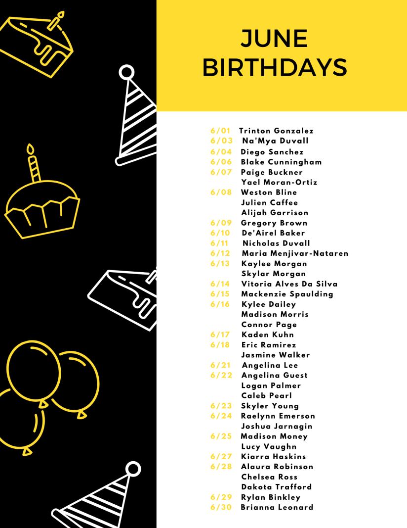 Black Yellow Illustration Birthday Flyer